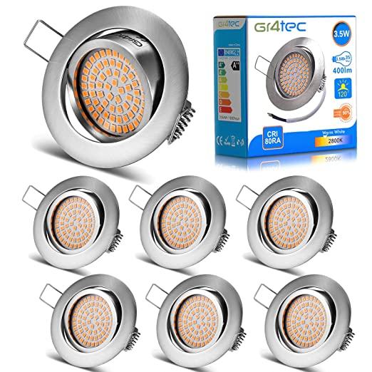 new product 3e37a f377c Gr4tec 6 x LED Recessed Lighting Ultra Slim Ceiling Spotlight Integrated  Downlights 230V 3.5W Warm White 2800K 400LM Replace 35W Incandescent IP20  Not ...