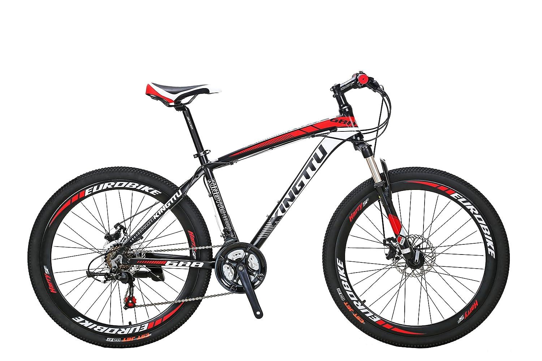 Excy 688 マウンテンバイク MTB 自転車本体 シマノ21段変速 アルミフレーム タイヤ26インチ ディスクブレーキ サスペンション B0788W3FXJ赤