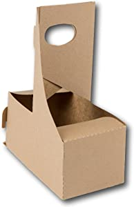 2 Cup Kraft Paperboard Small Drink Carrier With Convenient Handles - Size 7.625