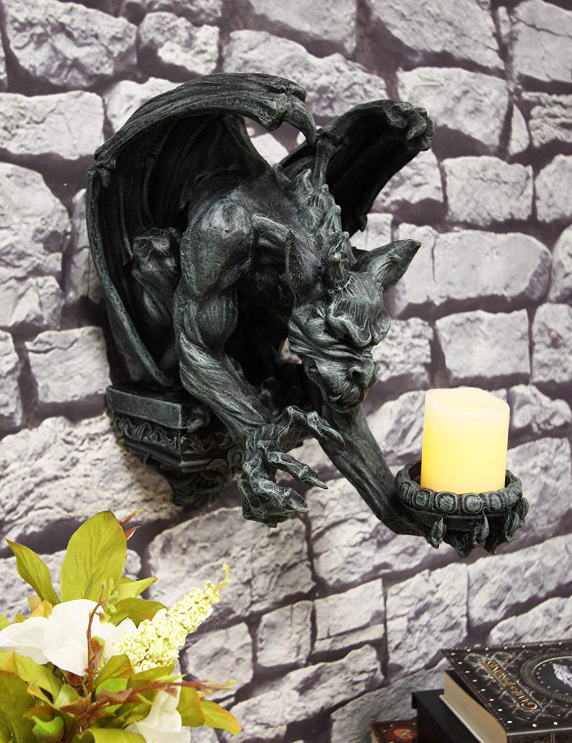 """Ebros Whitechapel Manor Winged Servant Gargoyle Decorative Candle Holder Wall Sconce Decor Plaque Sculpture 12"""" Tall Medieval Renaissance Gargoyles Cathedral Gothic Accent Candleholder"""