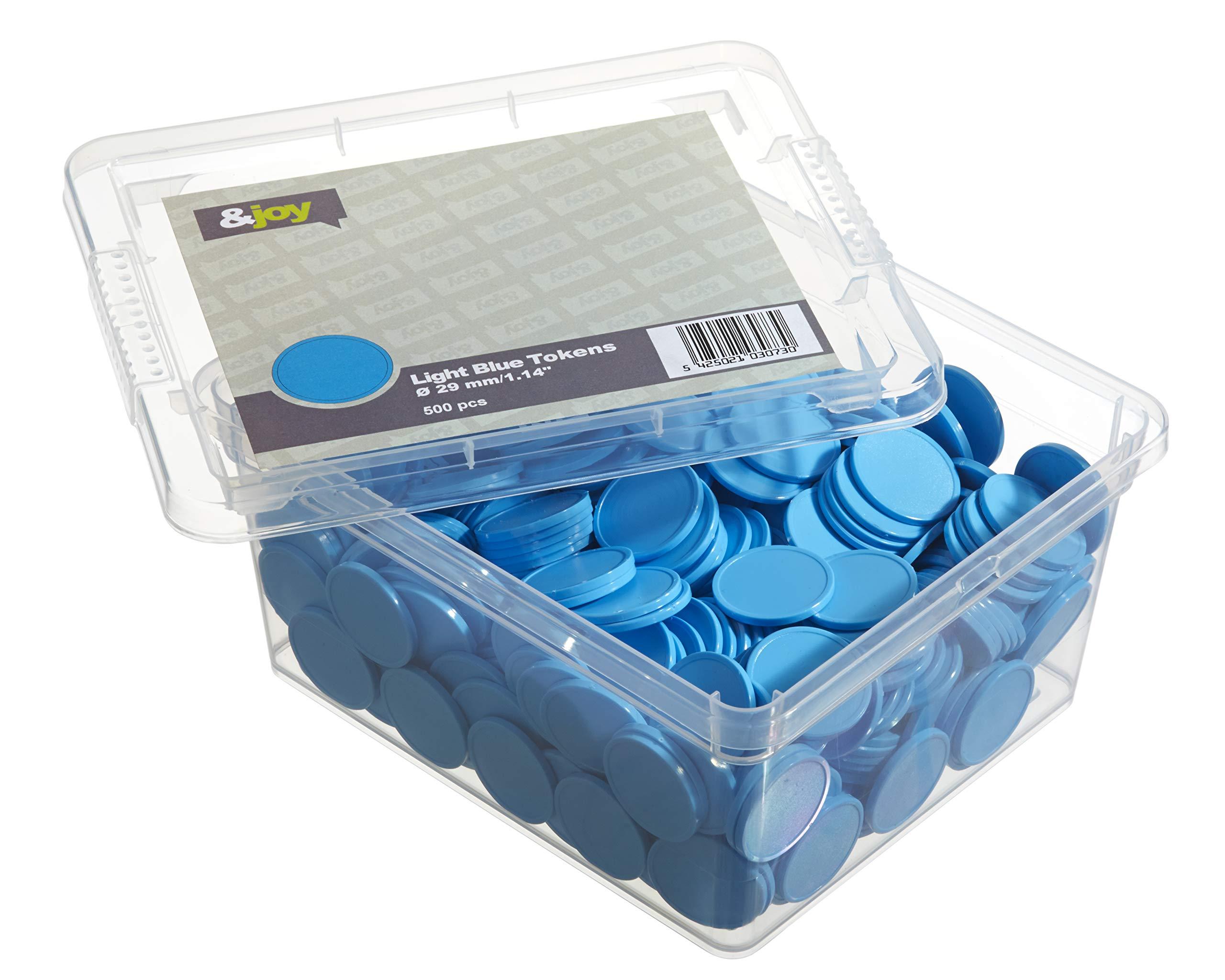 En-Joy Blank Plastic Tokens - 500 Coins - 29 mm - Light Blue