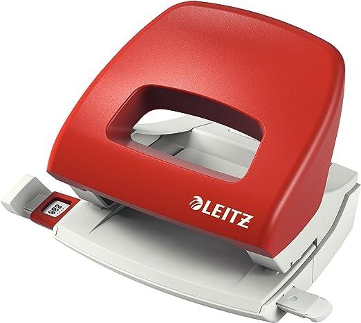 Leitz Pratica Perforatrice da Ufficio Capacit/à fino a 30 fogli Rosso Metallo Gamma NeXXt 50086025 Guida di Arresto con Barra di Selezione del Formato