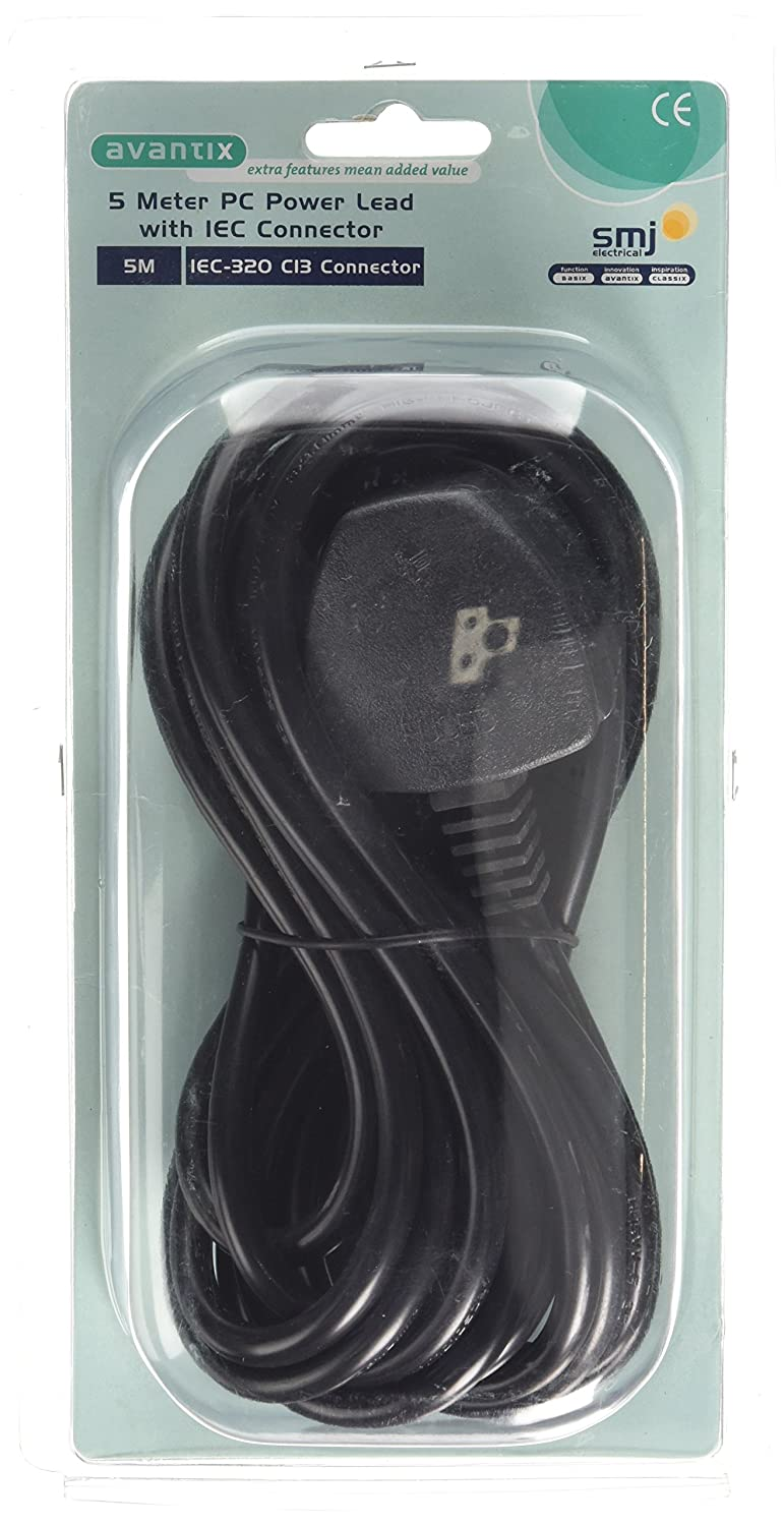 SMJ Electrical CSE3PC 5 m PC Power Lead with IEC Connector - Black