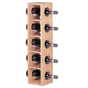 FineBuy Weinregal Massiv Holz Flaschen Regal Design Wandmontage Für 5  Flaschen Holzregal Modern Mit