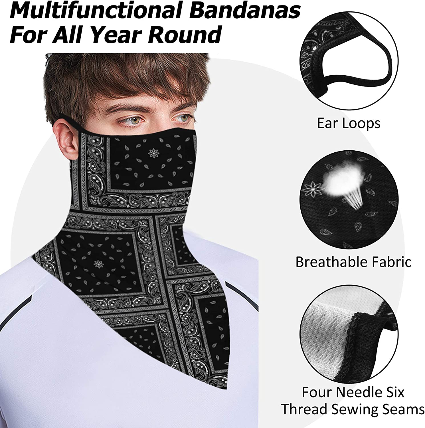 Changning Men Women Neck Gaiter Bandanas with Ear Loops Sun UV Protection Balaclava Running Sports Face Mask Face Cover Headwear for Cycling Hiking