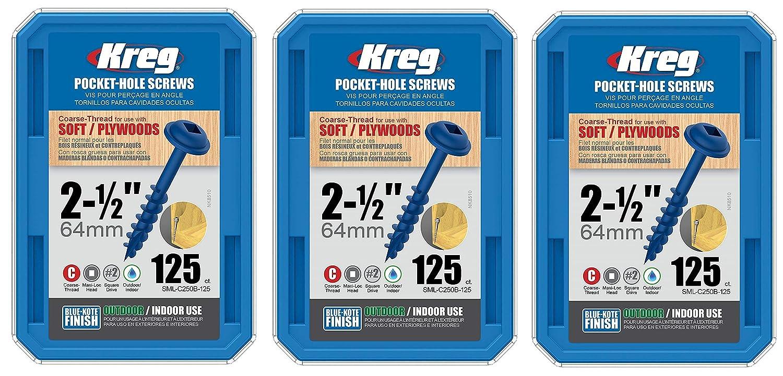 125 Count Kreg SML-C250B-125 2-1//2 Coarse Thread Number 8 Blue Kote Pocket Hole Screws