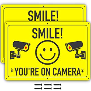 Video Surveillance Security Signs - 11.75 X 8 Inch - Ideal Aluminum Smile You're On Camera Sign to Prevent Trespassing on Private Property - Perfect for House, Business, Yard or Private Driveway