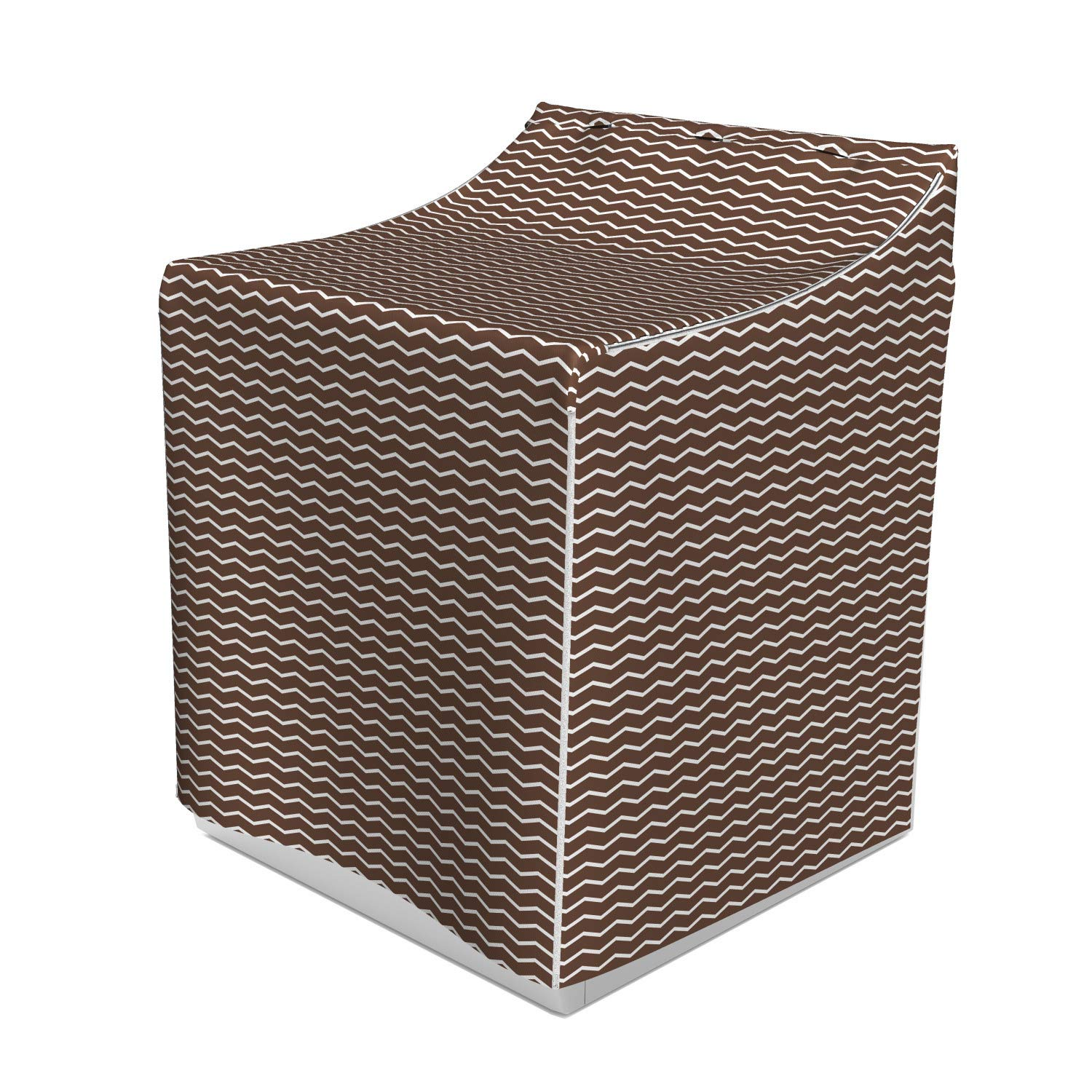 Lunarable Brown Washer Cover, Wave Like White Zig Zags Geometrical Retro Tribe Inspired Shaped Art Print, Suitable for Dryer and Washing Machine, 29'' x 28'' x 40'', Brown White by Lunarable