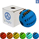 Zenify Puppy Toys Dog Toy Food Treat Interactive Puzzle Ball for Tooth Teething Chew Fetch Tennis Training Boredom Behaviour Dispensing Stimulation Pet Dogs & Puppies (Blue Small)