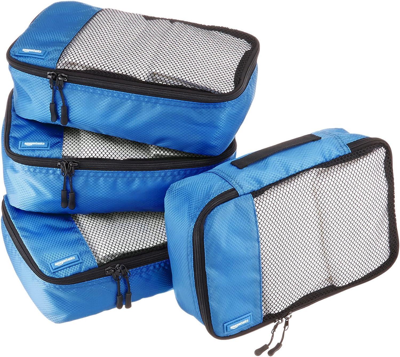 AmazonBasics Small Packing Travel Organizer Cubes Set, Blue - 4-Piece Set