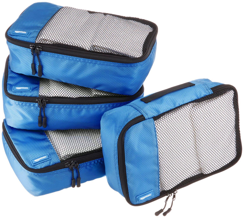 AmazonBasics - Bolsas de equipaje pequeñas (4 unidades), Azul product image