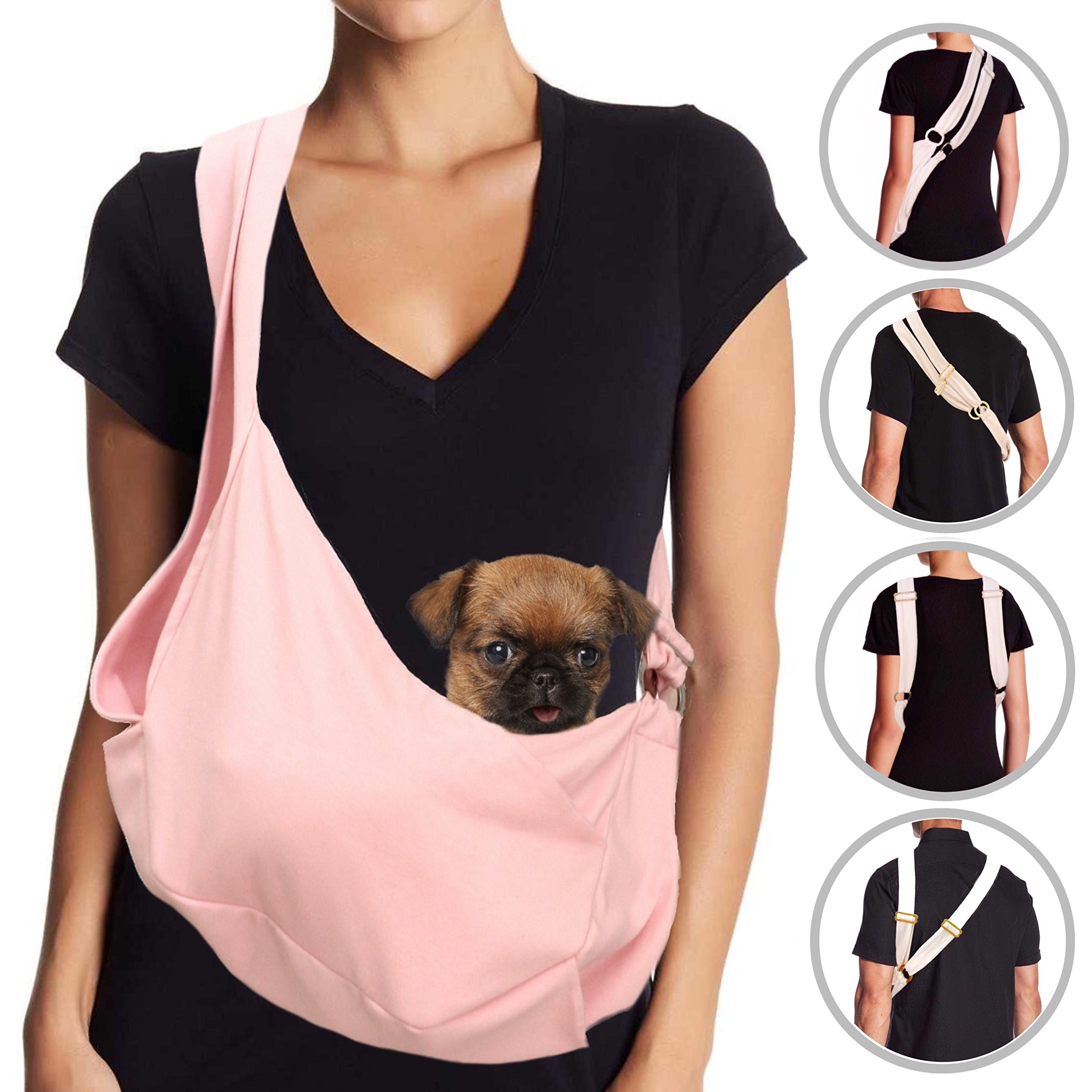 MISO PUP Dual Strap Dog Sling Carrier (Puppy Pink/Silver) Pockets & Head Notches Made in USA Machine Washable for Spoiled Small Dogs 8lbs