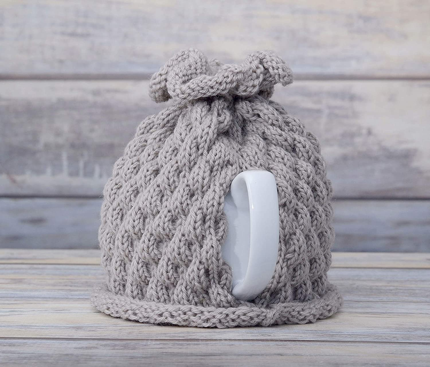 Medium Grey Tea Pot Cosy Teapot Cozy Wool Cover Knitted Warmer Cosie