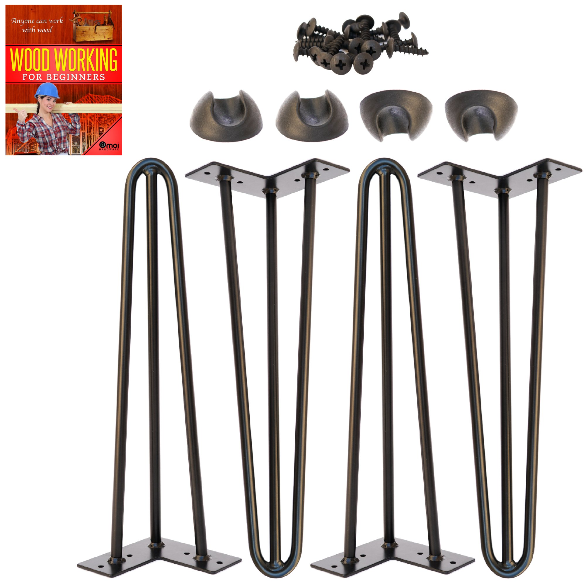 Omoi Hardware 16'' Hairpin Legs, 3 Rods, 1/2'' Thick, Heavy Duty, Black, Set of 4 Legs, 4 Floor Protectors & Screws - For Patio Bench Legs, Coffee Table