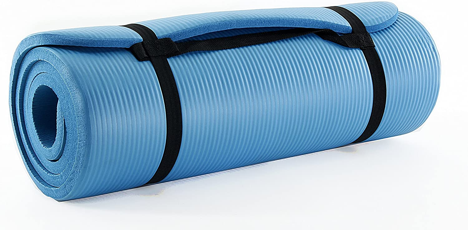 Prosource Premium 1/2-Inch Extra Thick 71-Inch Long High Density Exercise Yoga Mat with Comfort Foam and Carrying Straps, Cyan, Standard Packaging