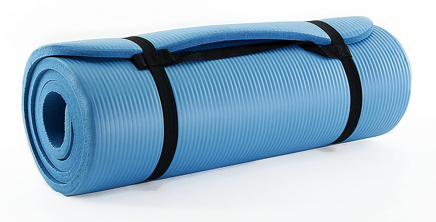 Prosource Premium 1 2-Inch Extra Thick 71-Inch Long High Density Exercise Yoga Mat with Comfort Foam and Carrying Straps, Cyan, Standard Packaging
