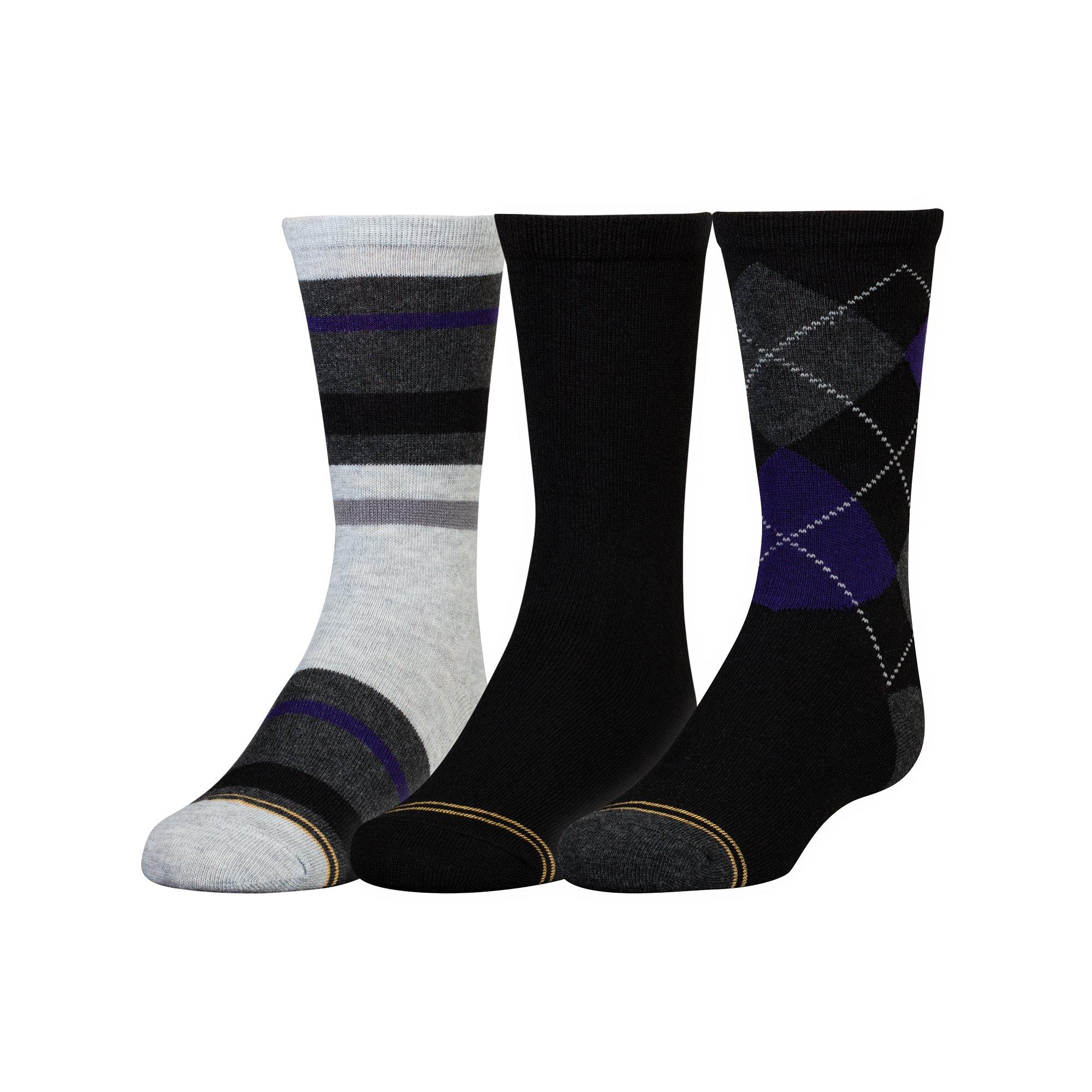 Gold Toe Big Boys' 3 Pack Fashion Dress Crew, Black Purple Argyle/Black/Stripe Grey/Heather Purple, Medium
