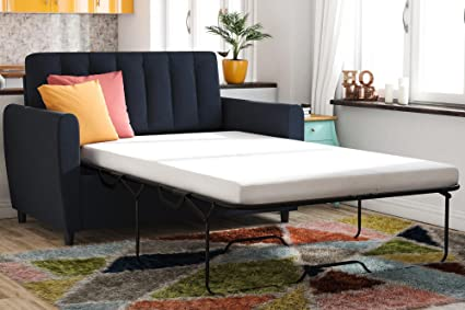 Enjoyable Novogratz Brittany Sleeper Sofa Sleeper With Memory Foam Mattress Blue Linen Twin Gmtry Best Dining Table And Chair Ideas Images Gmtryco