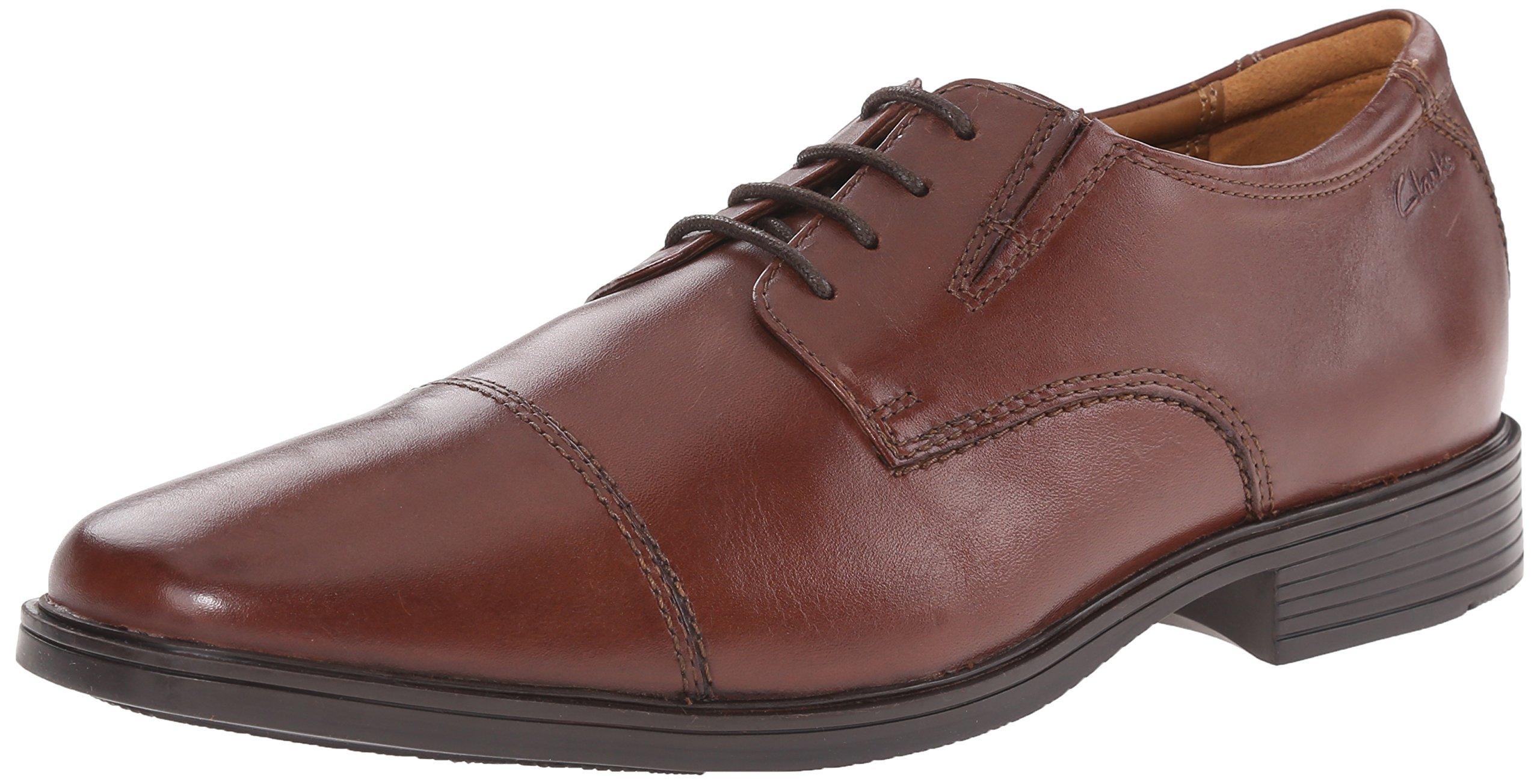 Clarks Men's Tilden Cap Oxford Shoe,Brown Leather,12 M US
