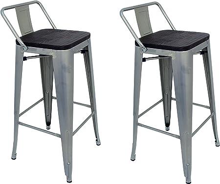 La Silla Española - Pack 2 Taburetes estilo Tolix con respaldo y asiento acabado en madera. Color Gris Industrial. Medidas 95x43x43: Amazon.es: Hogar