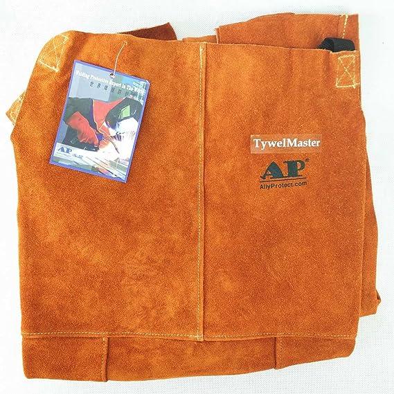 Desconocido Pantalones de soldar, Chaps de Soldadura de Cuero, Pantalones de Trabajo de Cuero de Vaca de abrasivo de Flame/Abrasion Leather Worker: ...