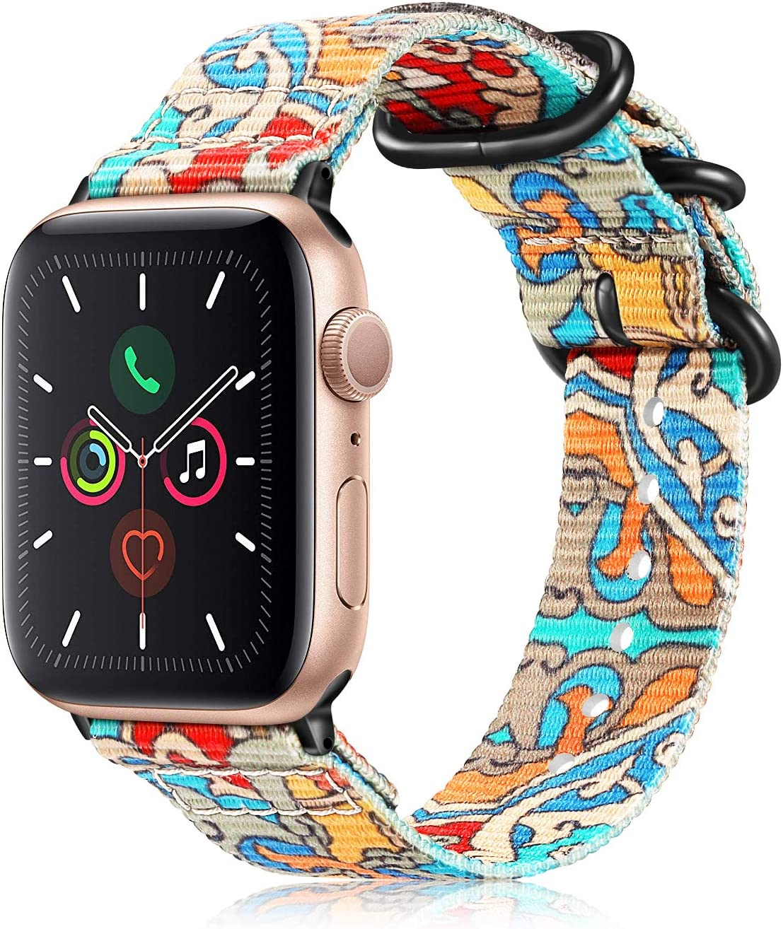 Fintie Band Compatible with Apple Watch 44mm 42mm Series 6/5/4/3/2/1 iWatch SE, Lightweight Breathable Woven Nylon Sport Wrist Strap with Metal Buckle Compatible All Versions 44mm 42mm Apple Watch