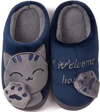 ChayChax Zapatillas de Estar por Casa Lindo Animados para Niños Mujer Hombre Invierno Pelusa Forro Pantuflas Interior de Memoria Espuma Cómodo Caliente Zapatos de Algodón