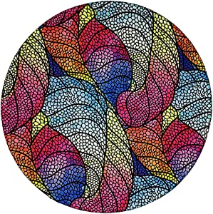 BOSOBO Mouse Pad, Round Colorful Leaves Mousepad, Small Non-Slip Rubber Circular Mouse Mat with Stitched Edges, Cute Girls Mouse Pad Desktop Accessories for Office, Travel and Gaming, 7.9 x 7.9 Inch