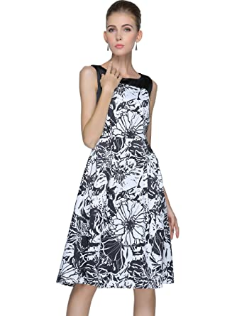 5145e5eb8f9 yulinge Womens Floral-Print Sleeveless Casual Crew Neck Chiffon Midi Dress  at Amazon Women s Clothing store
