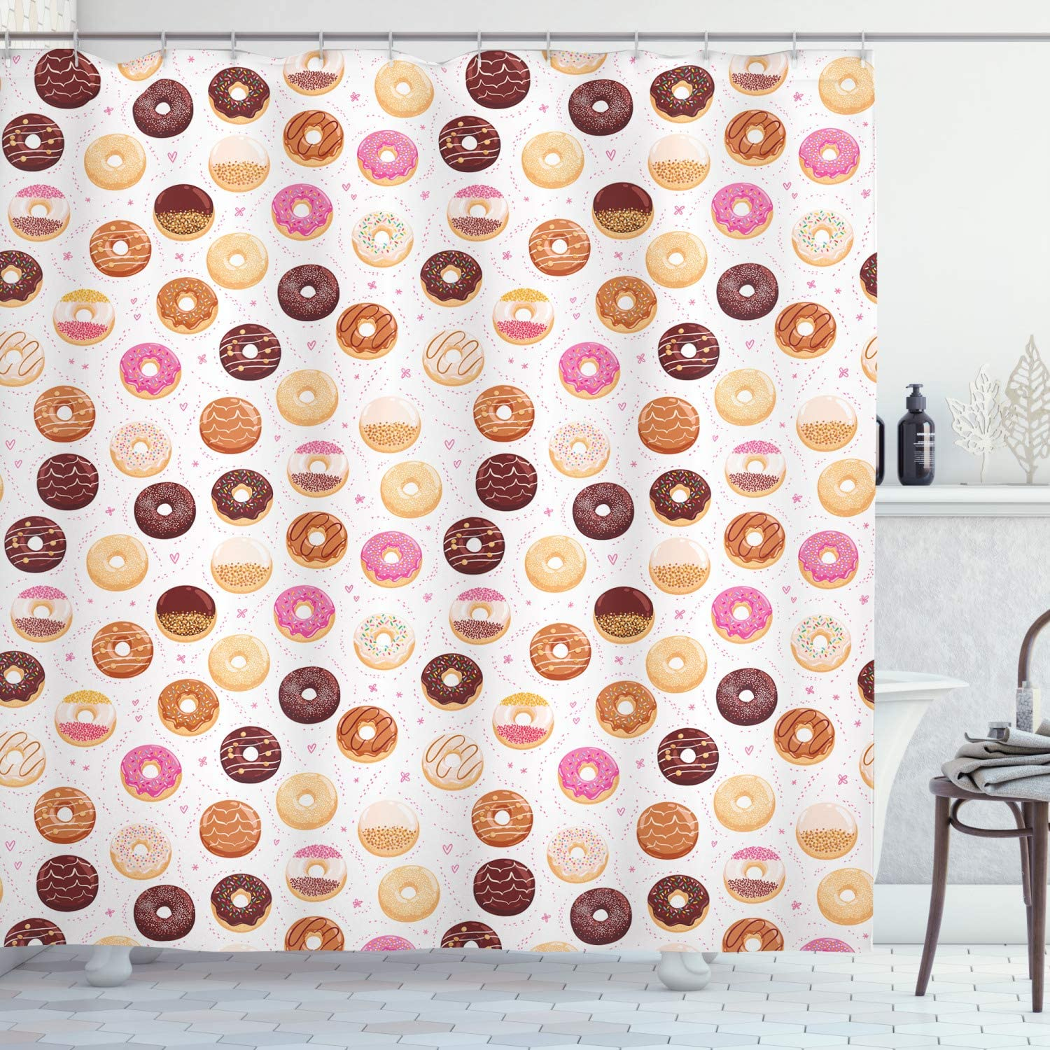 Ambesonne Food Shower Curtain, Donuts and Little Hearts Pattern Colorful Yummy Delicious Desserts Print, Cloth Fabric Bathroom Decor Set with Hooks, 70