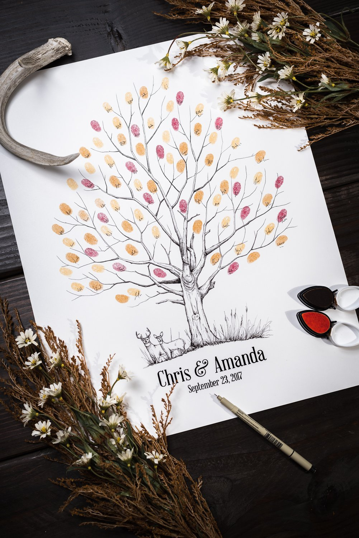 Fingerprint Tree custom wedding guestbook - Original thumbprint guest book alternative (Medium Size Fall Tree) includes 2 ink pads!!