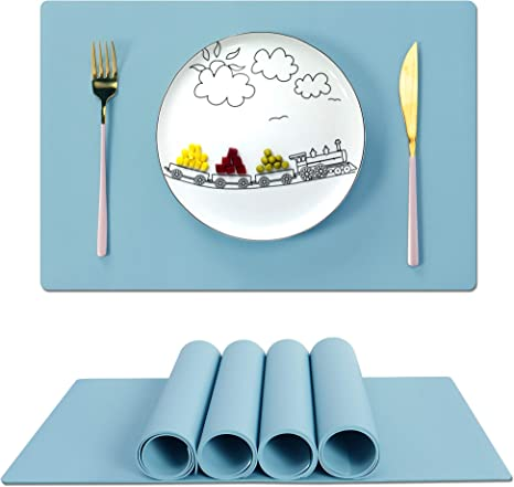 Silicone Insulation Pad Kids Dining Table Kitchen Rectangle Placemats Place Mat