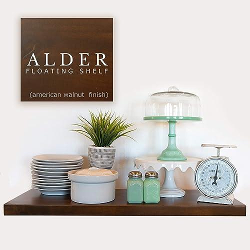 Floating Shelf – Solid Furniture Grade Alder Floating Shelves with EZ Mount Hidden Bracket American Walnut, 12Lx10D