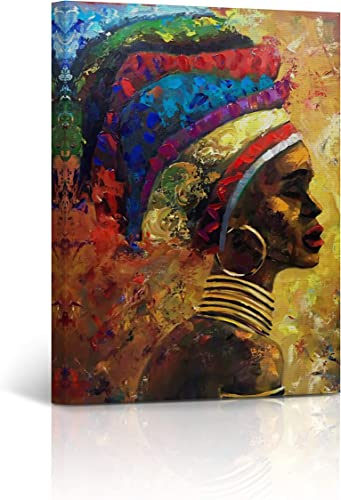 Buy4Wall African Wall Art Canvas Print Modern Woman Oil Painting Harmony of Colors Decorative Art Home Decor Artwork Stretched and Framed