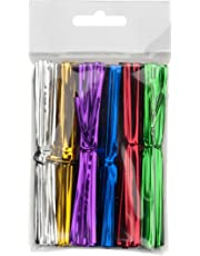 LSP - 600 Piece Pack of 4 Inch Metallic Twist Ties in 6 Colours for Cellophane Party and Favour Treat Bags