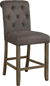 Coaster Home Furnishings Tufted Back Counter Height Stools Grey and Rustic Brown (Set of 2) (193178)