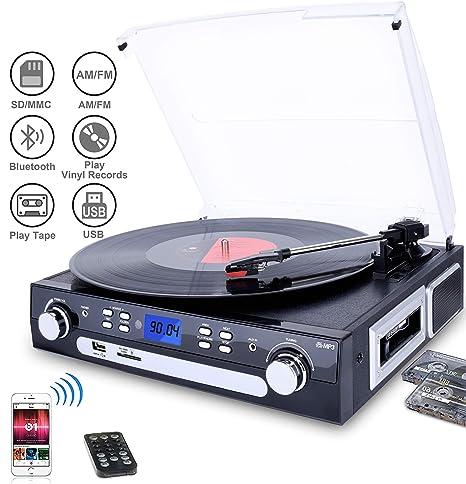 DIGITNOW! Tocadiscos Bluetooth con Estéreo Altavoces , 33/45/78 RPM Apoyos Cassette / Radio / Vinilo a MP3 USB Codificación / Aux in