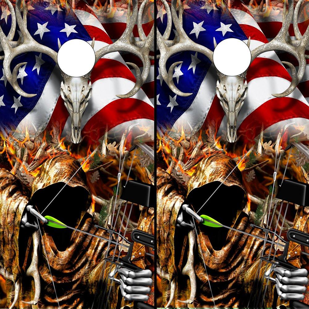Speed DemonホットロッドShop Cornholeボードラップ~アメリカ国旗Buck Bow Reaper Blaze Skull Obliteration Corn穴ボードラミネートデカールWraps (Set of 2 ) boamb108cb B07DQXW586