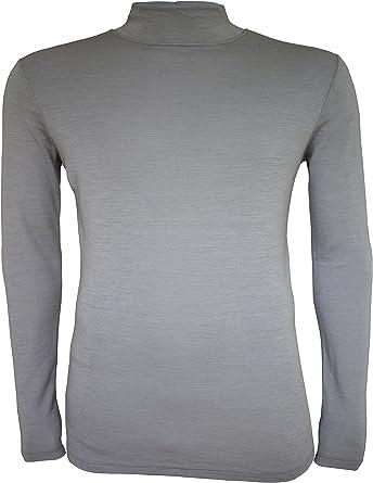 Camiseta térmica para Hombre (100% Lana de Merino, Manga Larga, Cuello Alto): Amazon.es: Ropa y accesorios