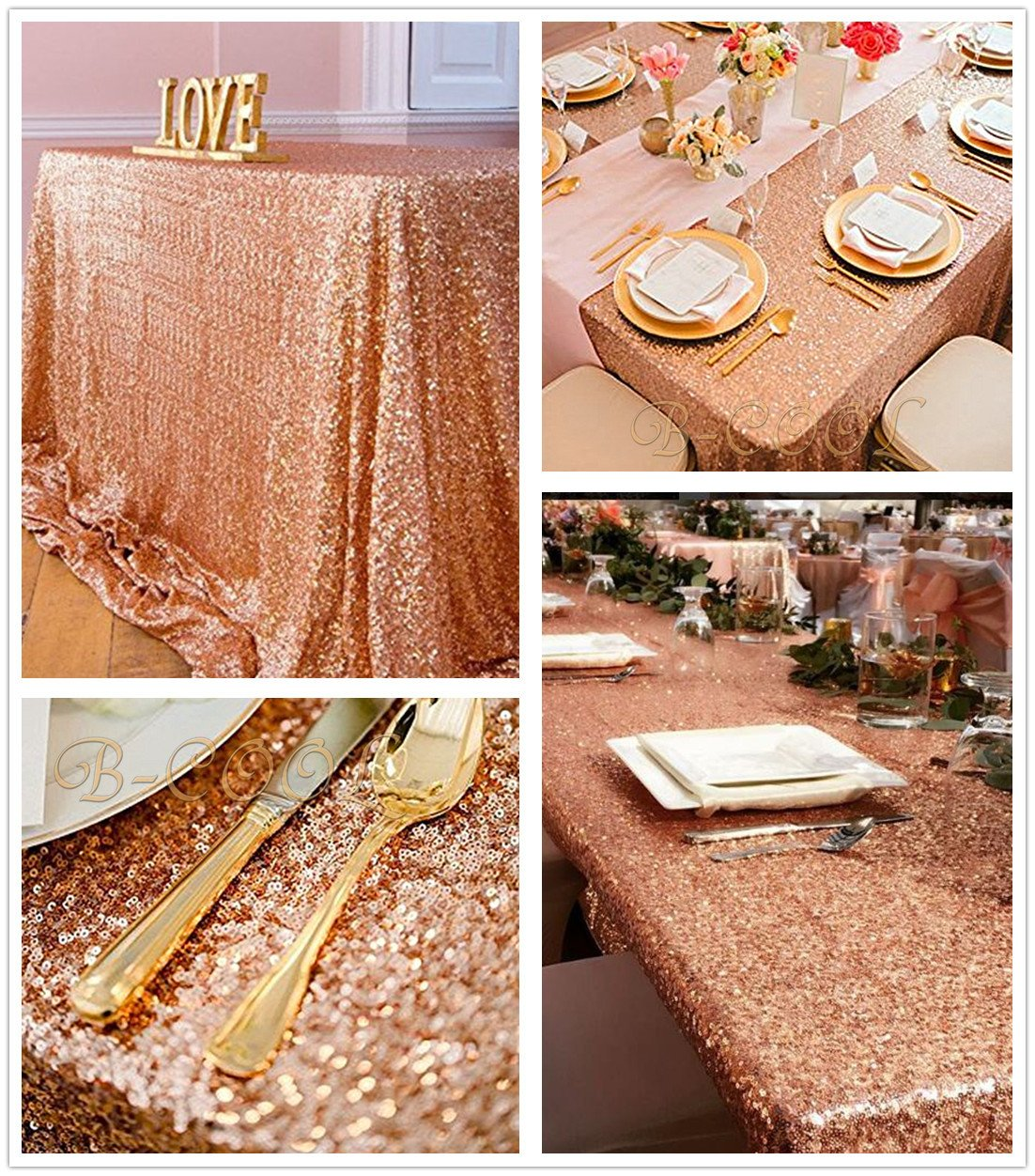 Sparkly Rose Gold Sparkly Sequin Glamorous Tablecloth Backdrop Wedding Party Decoration 90inx156in Garden tablecloth