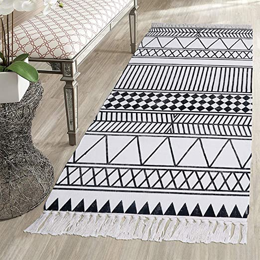 HEBE Cotton Rug Runner 2.3\'x6\' Washable Woven Tassel Black and White Rugs  Cotton Throw Rugs Floor Carpet Mat Bohemian Rug for Living Room Kitchen ...