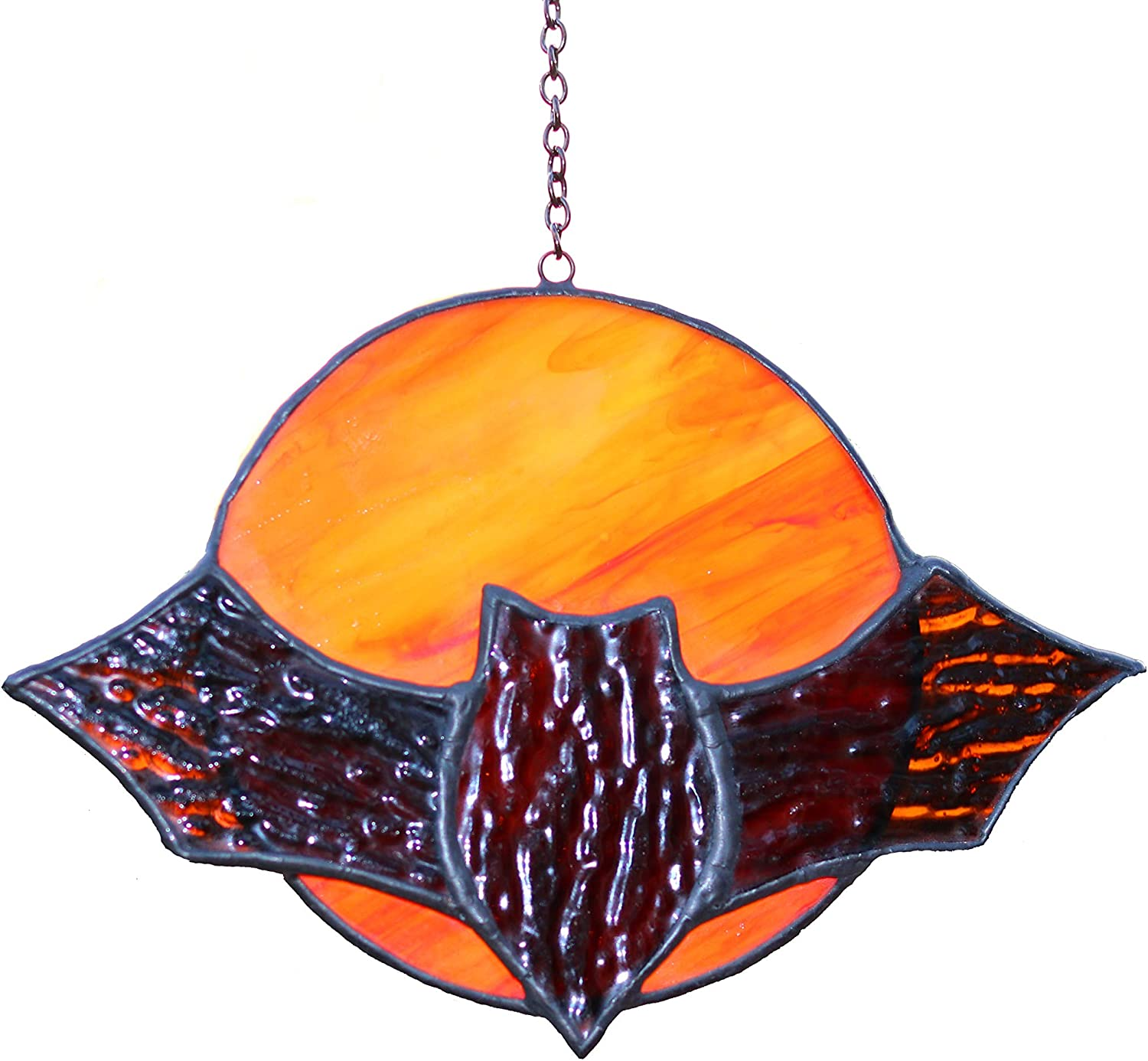 "HAOSUM Bat Stained Glass Window Hanging Bat Decoration Suncatcher for window5.9""×3.9"""