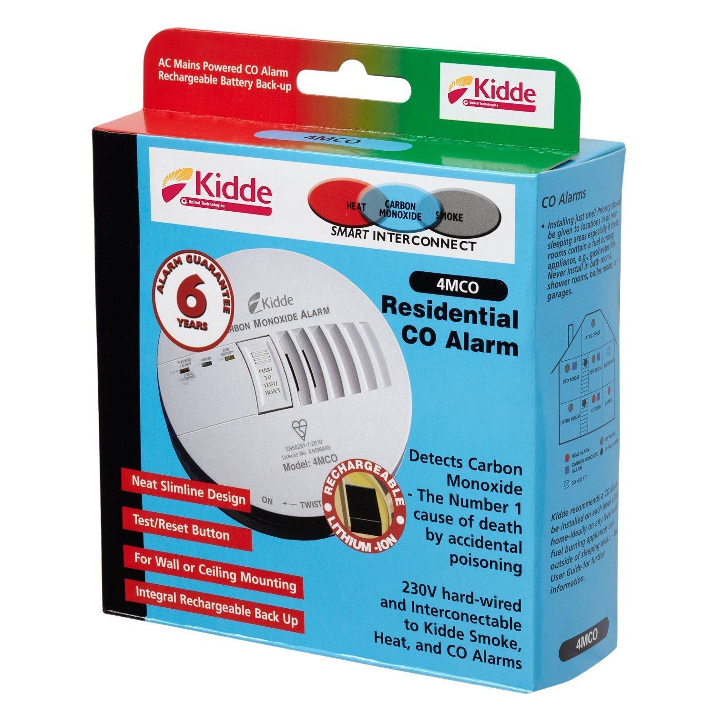 Kidde 4MCO Carbon Monoxide Alarm - Hard Wired - Mains Powered - 230v ...