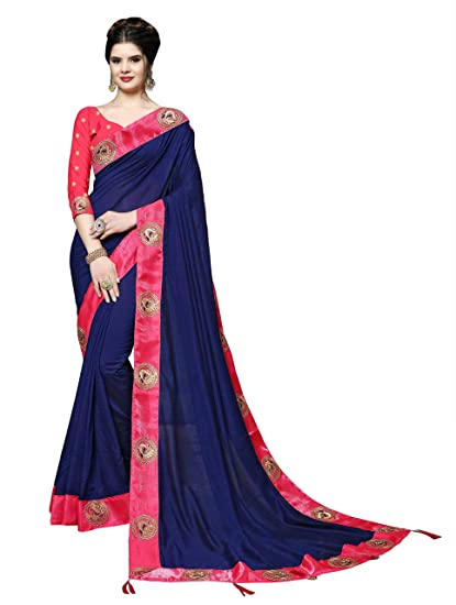 Fashion Dark Silk Women's With Soru Cotton Embroidered Saree Blue K1JF3uTlc