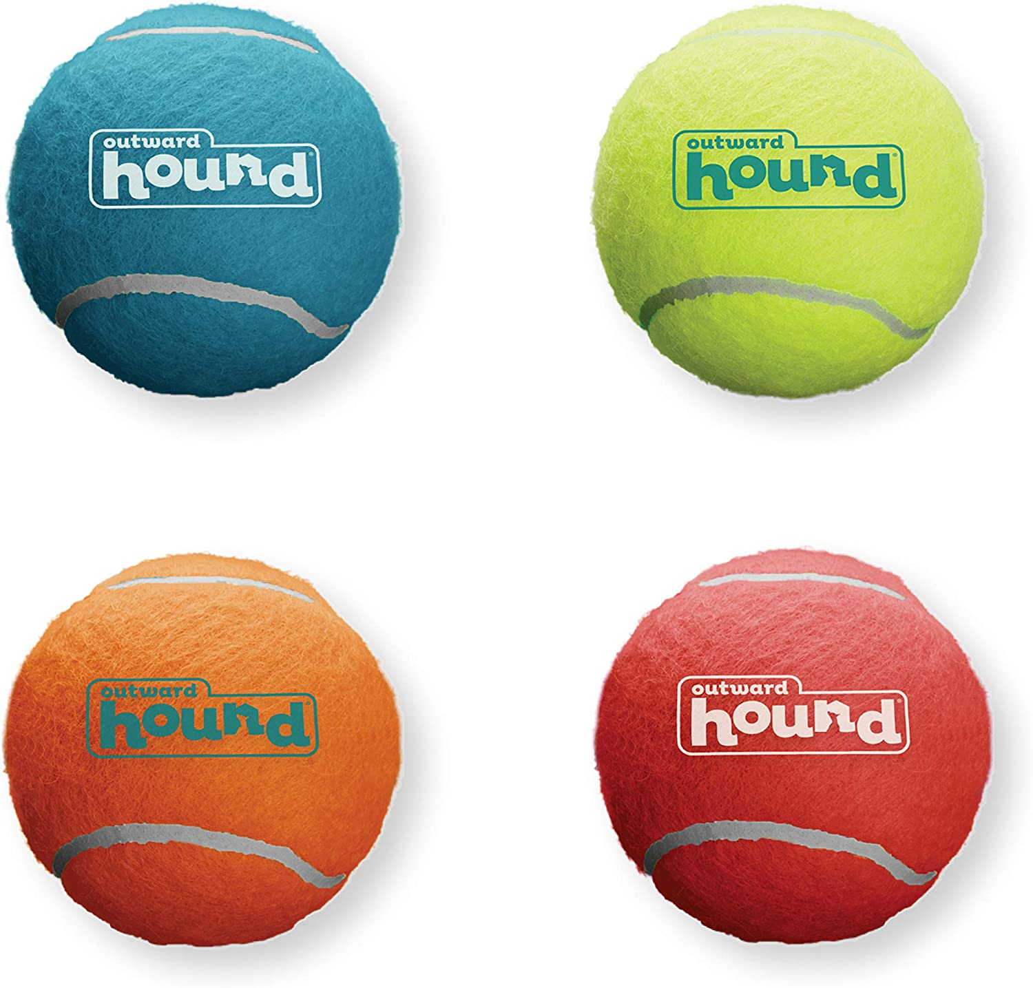 Outward Hound Squeaker Ballz Squeaky Tennis Balls Medium Size 4pk