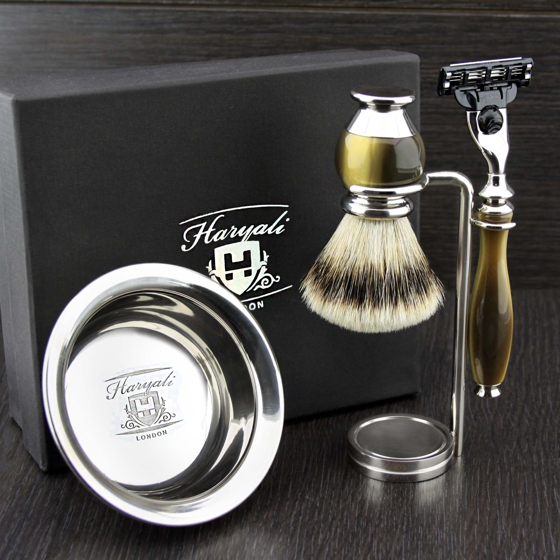 Simulated Horn and Nickel 4 Pieces Men's Shaving Set With Gillette Mach 3 (Replaceable Head) Razor. Newly Designed By HARYALI LONDON