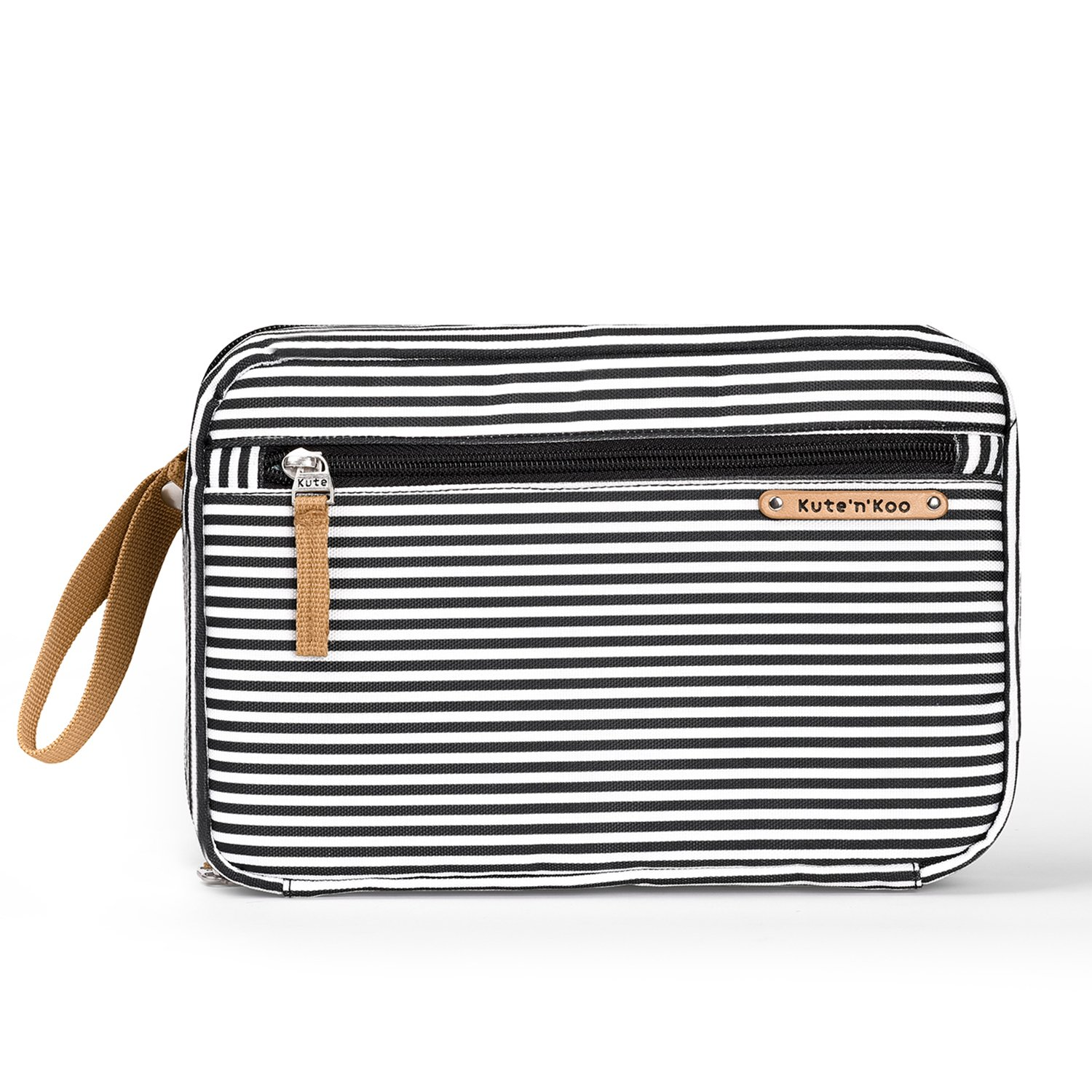 Stylish Portable Diaper Changing Pad – Diaper Clutch Bag - by Kute 'n' Koo – Fashion and Function in One Bag – Designed in NYC and Much More …(black and white french stripe) Kute 'n' Koo kk1006