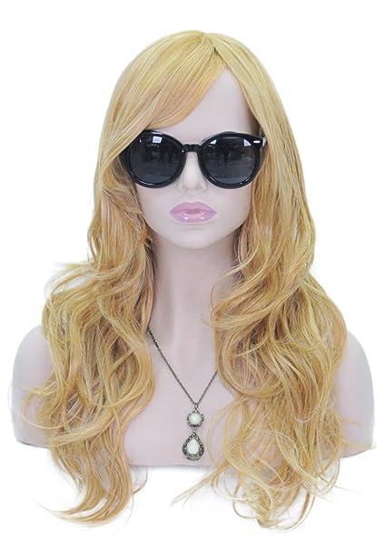 Largo rizado ondulado pelucas para las mujeres cabeza completa color amarillo naranja peluca cosplay Lolita peluca