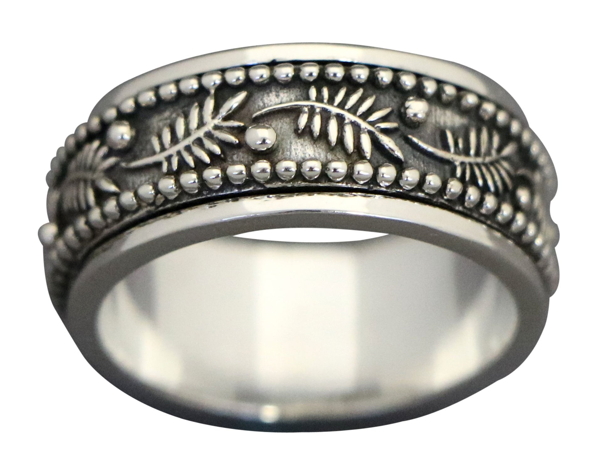 Energy Stone PALM LEAF Meditation Spinning Ring in Sterling Silver Designed by Viola So (Style# US42) (10) by Energy Stone (Image #4)