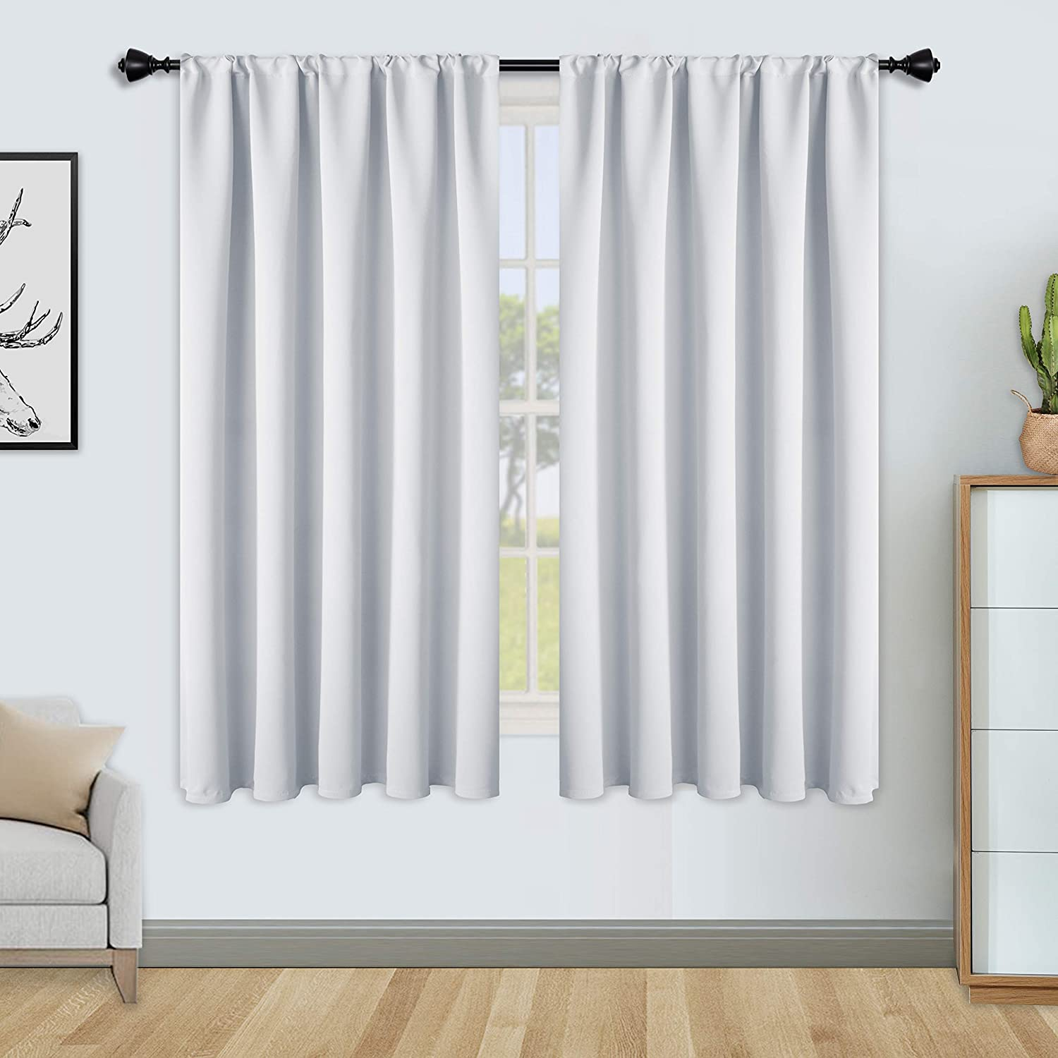 FLOWEROOM Blackout Curtains for Bedroom - Thermal Insulated, Energy Saving and Noise Reducing Rod Pocket Window Curtain Panels for Living Room, Greyish White, 42 x 63 inch, 2 Panels